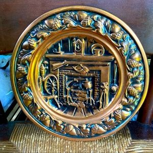 Copper Vintage Wall Decor Hanging Plate Autumn